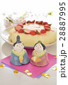 ひな人形とババロアケーキ 28887995