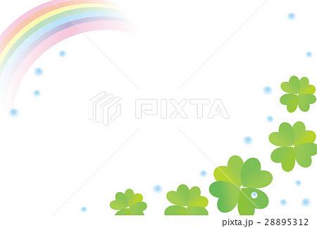 四つ葉のクローバー フレーム 虹 雨 28895312