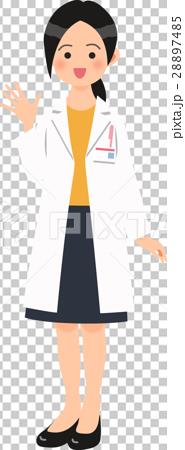 白衣姿で手を振る女性 28897485