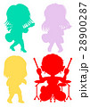 ロック ガールズバンド シルエット 28900287