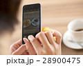 珈琲を飲みながらスマートフォンを操作する女性の手元 28900475