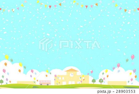 紙吹雪 園舎 旗 風船 28903553