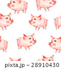 Watercolor seamless pattern with cute piggy 28910430