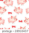 Watercolor seamless pattern with cute piggy 28910437