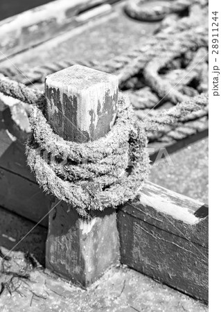 a rope in  yacht accessory  boatの写真素材 [28911244] - PIXTA