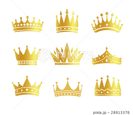 Isolated golden color crowns logo collection on 28913376