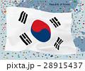 韓国国旗と世界地図 28915437