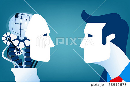 Humans vs Robots. Concept business illustrationのイラスト素材 [28915673] - PIXTA