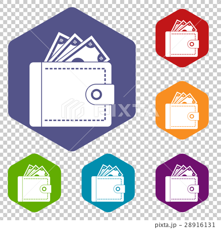 Purse with money icons set 28916131