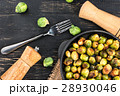 Fried brussels sprouts in a pan 28930046