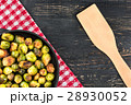 Fried brussels sprouts in a pan 28930052