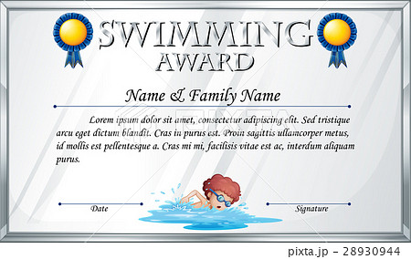 certificate template for swimming awardのイラスト素材 28930944 pixta