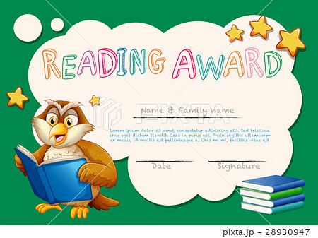 certificate template for reading awardのイラスト素材 28930947 pixta