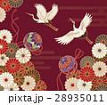 菊と鶴と手毬の伝統的な和柄 28935011