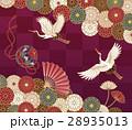 菊、鶴、手毬と扇の伝統的な和柄 28935013