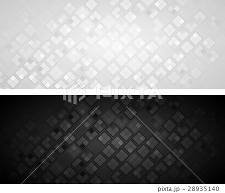 Vector black and grey banners with squaresのイラスト素材 [28935140] - PIXTA