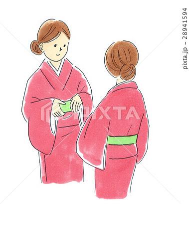 一人で着物の着付けのイラスト素材 28941594 Pixta
