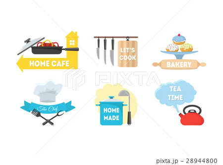 cartoon kitchen labels set vectorのイラスト素材 28944800 pixta