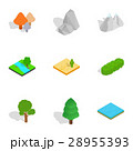 Summer landscape icons set, isometric 3d style 28955393