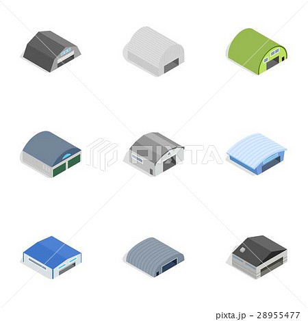 Types of warehouse icons, isometric 3d styleのイラスト素材 [28955477] - PIXTA