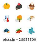 Symbols of autumn icons, isometric 3d style 28955500