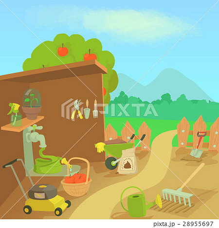 Gardening tools landscape concept, cartoon style 28955697