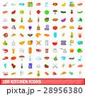 100 kitchen icons set, cartoon style 28956380