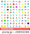 100 space icons set, cartoon style 28956386
