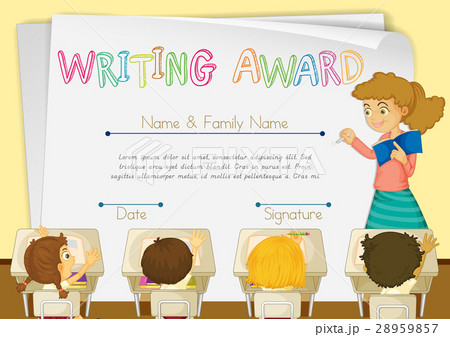 Certificate template for writing award 28959857 pixta certificate template for writing award yelopaper Gallery