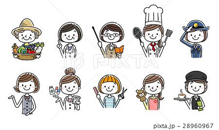 働く女性たち、職業:セット、バリエーション 28960967