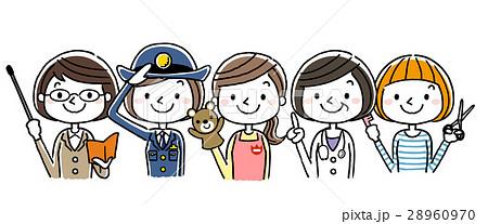 働く女性たち、職業:セット、バリエーション 28960970