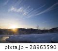 夜明け 雪景色 日の出の写真 28963590