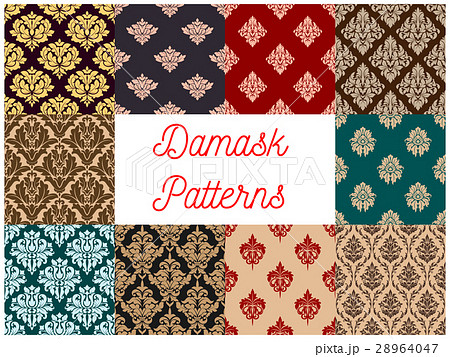 Damask floral pattern seamless vector setのイラスト素材 [28964047] - PIXTA