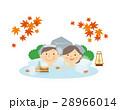 シニア 夫婦 温泉 もみじ イラスト 28966014