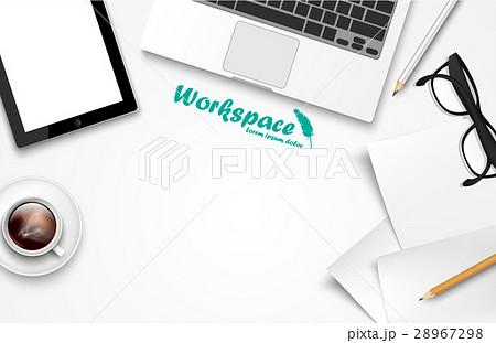 workspace with laptop, phone, notebookのイラスト素材 [28967298] - PIXTA