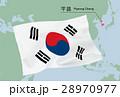 世界地図と韓国国旗 28970977