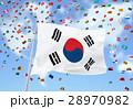 世界地図の雲と韓国国旗 28970982