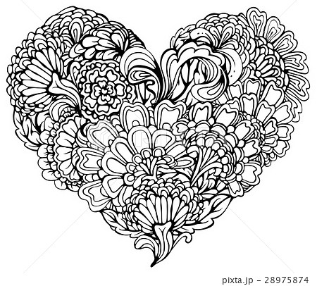 Abstract black paisley ornament in heart shapeのイラスト素材 [28975874] - PIXTA