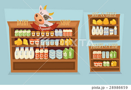 Dairy products set with supermarket shelvesのイラスト素材 [28986659] - PIXTA