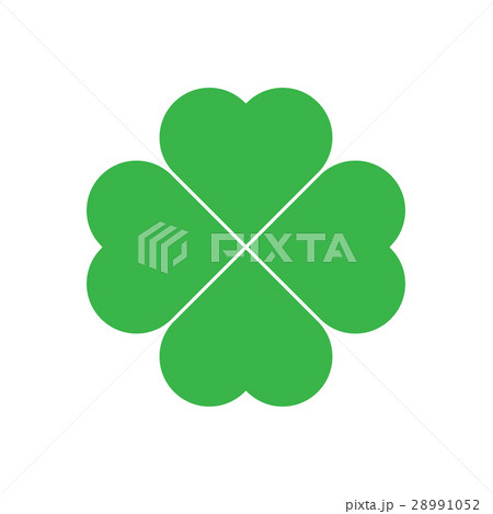 shamrock green four leaf clover icon good luckのイラスト素材