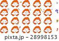 女性 顔 表情 アイコン セット 赤髪 28998153