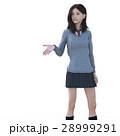 ポーズする制服の女子学生 perming 3DCG イラスト素材 28999291