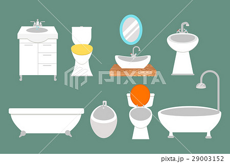Bathroom icons colored set with process waterのイラスト素材 [29003152] - PIXTA