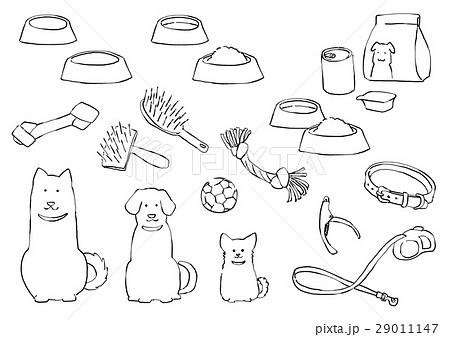 犬と犬用品(線画) 29011147