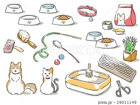 猫と猫用品(影付き) 29011149
