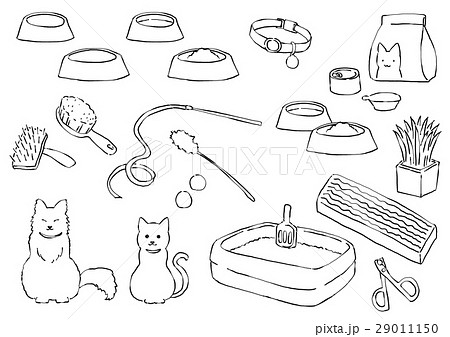 猫と猫用品(線画) 29011150