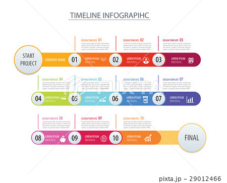 infographic timeline template business arrows のイラスト素材