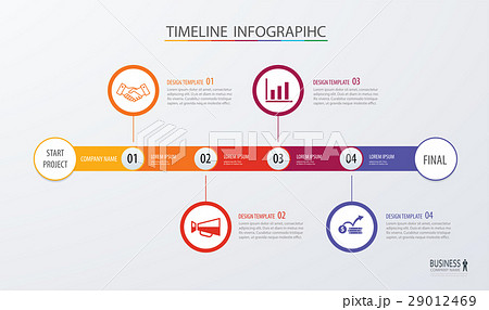 infographic timeline template business concept のイラスト素材