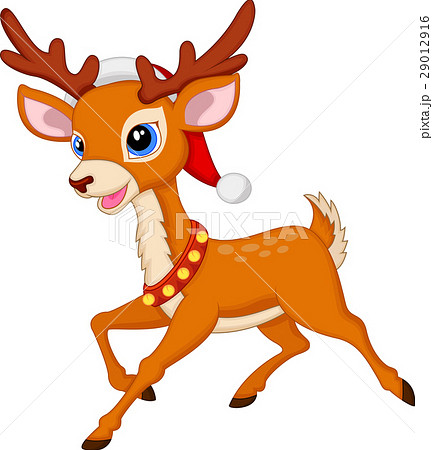 Cute deer cartoon with fed hat 29012916