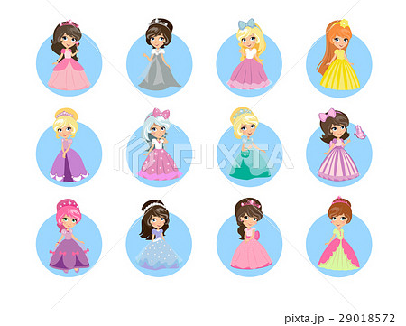 Beautiful Cartoon Princesses Flat Vector Icons Set 29018572